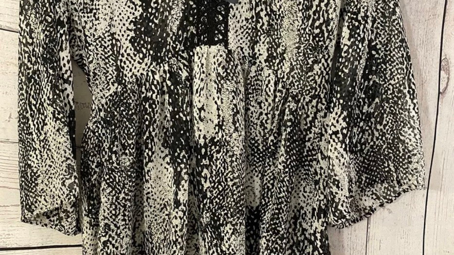 Womens / Ladies Marks & Spencer Black White Mix Kaftan Blouse Size 8 New & Tags