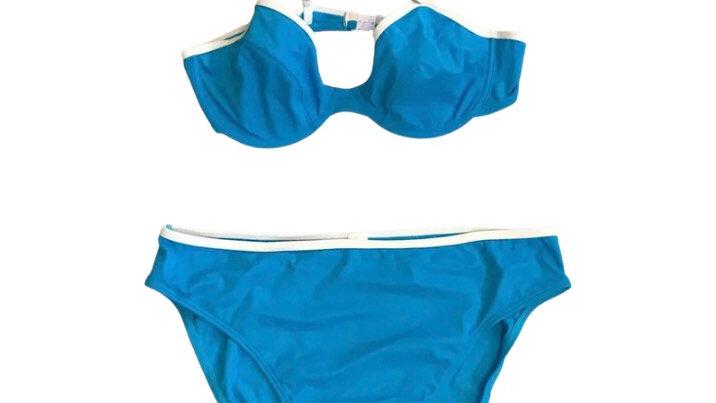 Women's / Ladies At The Beach Turquoise Blue Bikini Top & Bottom Set Size 18 A.B