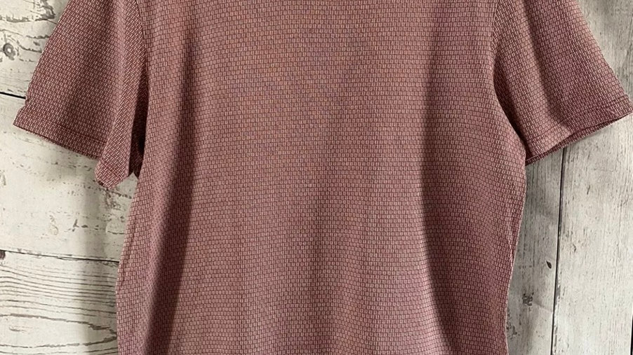 Mens Ted Baker Red White Mix Short Sleeve T-Shirt Size 3 Medium - Immaculate