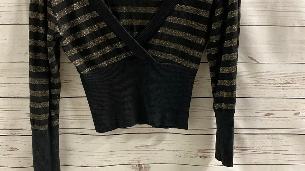 Womens / Ladies Cropped Black & Gold Metallic Jumper Top Size 8 Immaculate