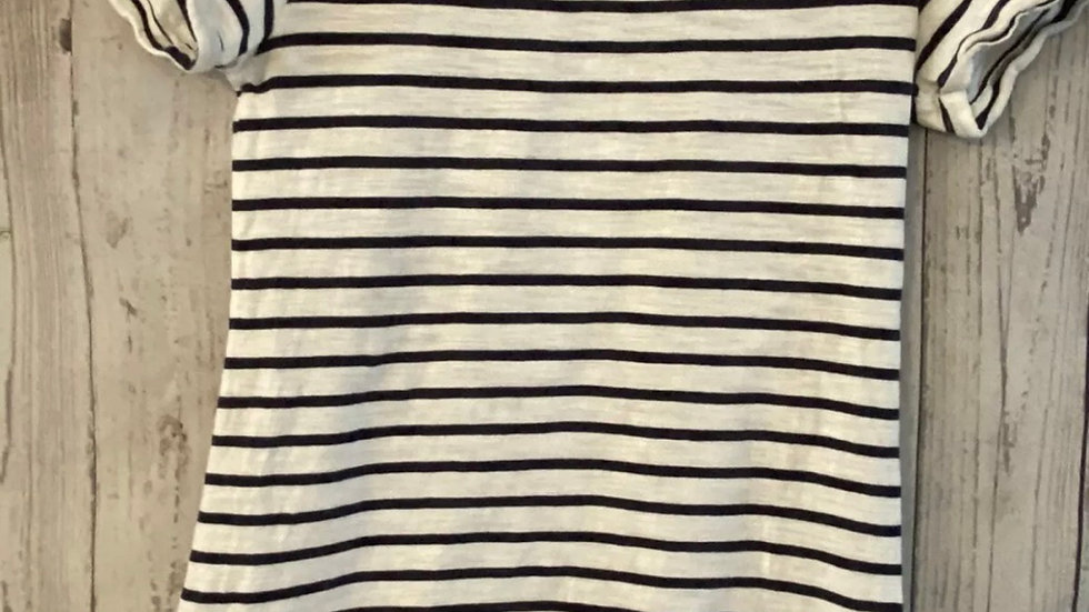 Womens / Ladies Joules White & Navy Stripe TShirt Size 6 Good Condition