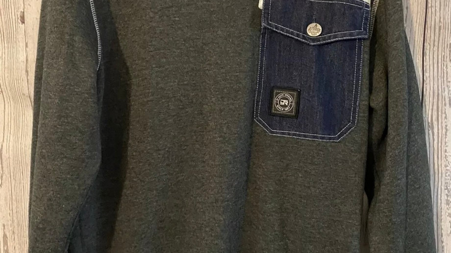 Mens 1967 D-rock Grey Denim Mix Jumper Size Medium - Excellent Condition