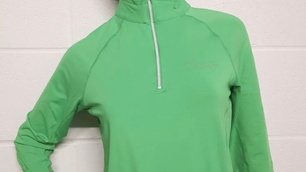 Womens / Ladies Dare2b Green Stretch Core Ilus Technology 1/4 Zip Top Size 8 NEW