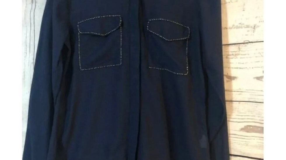 Women's / Ladies River Island Navy Blue Long Sleeve See Through Shirt Size 10