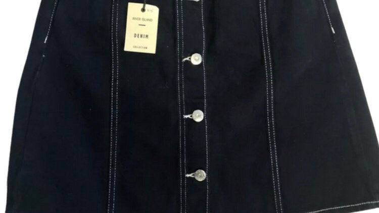 Womens / Ladies River Island Blue Denim Skirt Size 10 New With Tags