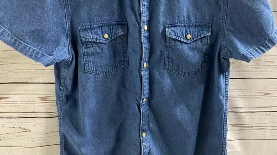 Mens Primark Blue Denim Short Sleeve Shirt Size Medium - Immaculate