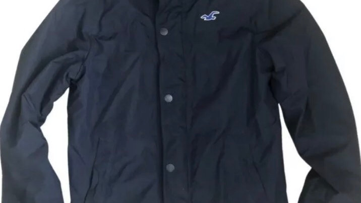 Mens Hollister Navy Windbreaker Coat Size Large Excellent Condition