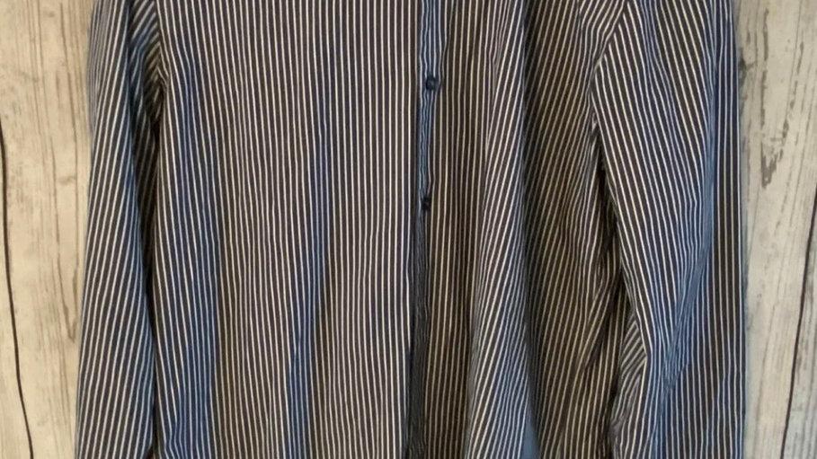 """Mens Hugo Boss Blue White Stripe Long Sleeve Shirt Size 39"""" Chest 15.5"""" Neck"""
