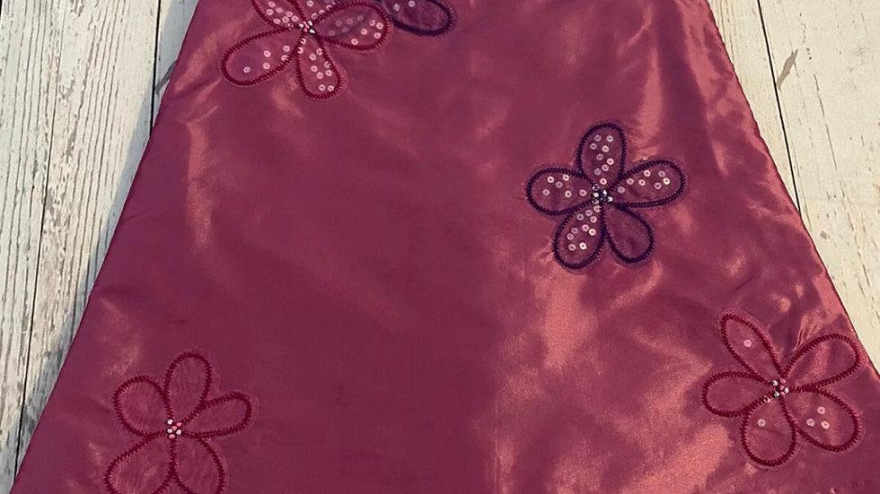 Girls Gap Kids Pink / Purple Satin Short Sleeve Floral Dress Age 18 - 24 Months