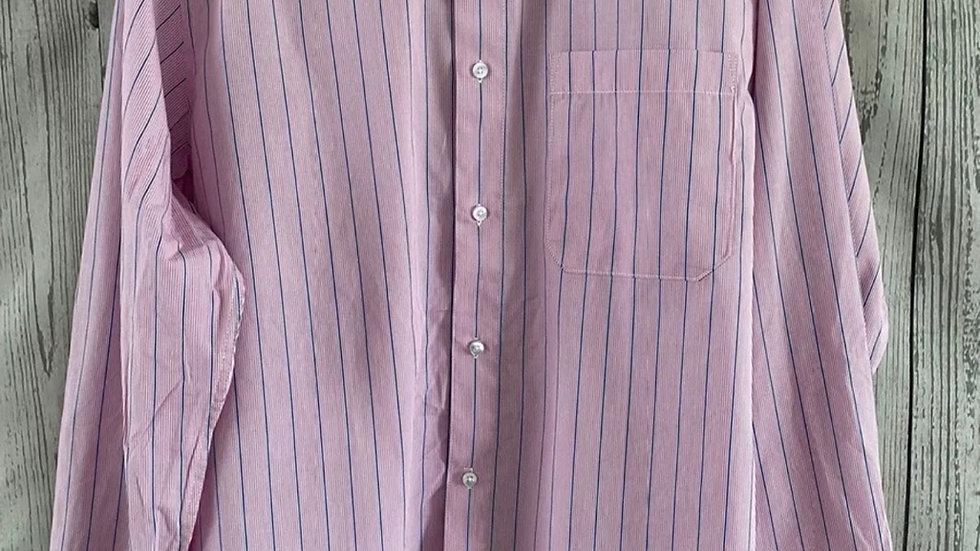 "Mens Double Two Pink Blue Stripe Long Sleeve Shirt 15"" Neck Large"