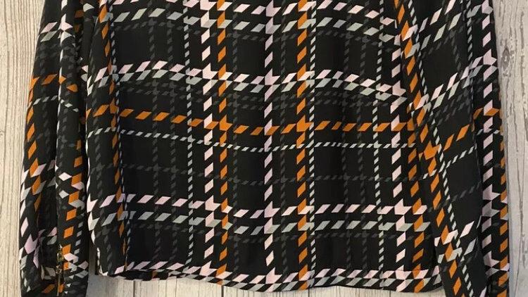 Womens / Ladies River Island Cropped Orange Black Top Size 6 - Excellent