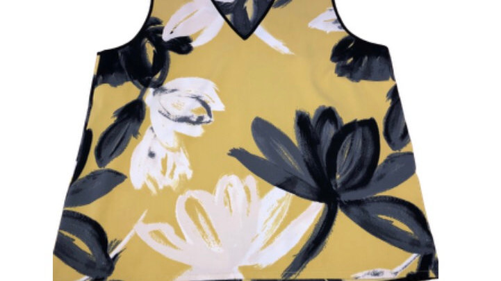 Womens / Ladies Next Yellow Floral Sleeveless Top Size 18 Immaculate  condition