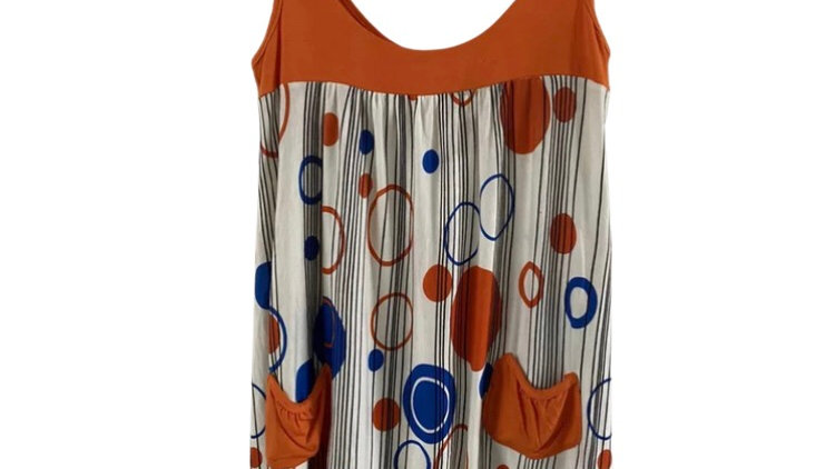 Womens / Ladies Orange White Circles Vest Top Size 8 Immaculate