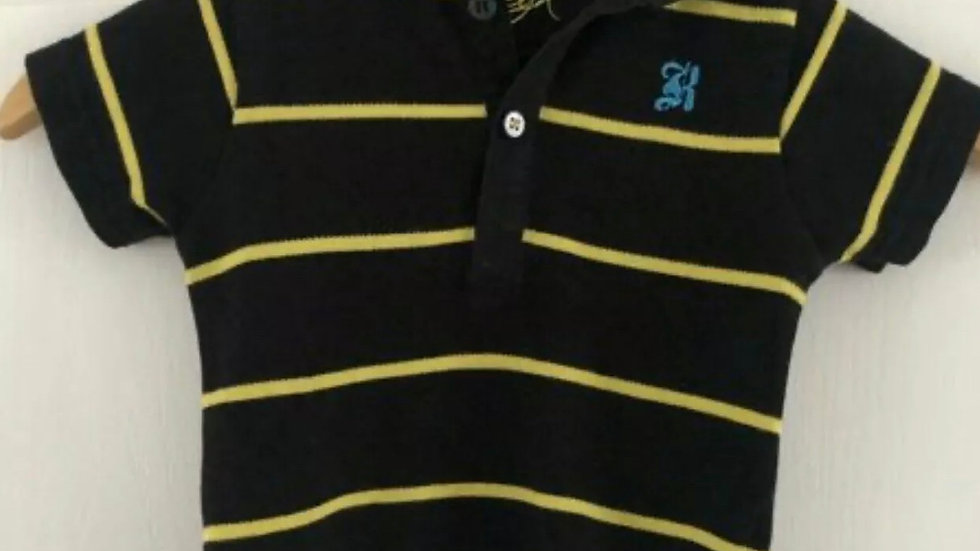 Boys Baby K Myleene Klass Black & Yellow Polo T-Shirt Age 9-12 Months Immaculate