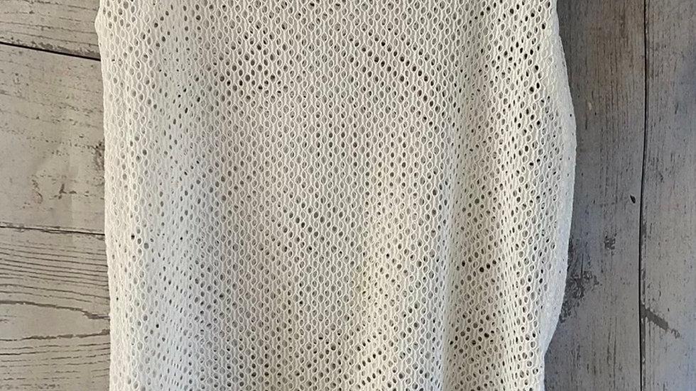 Womens / Ladies Next White Crotchet Short Sleeve Top Vest Size 10 Excellent