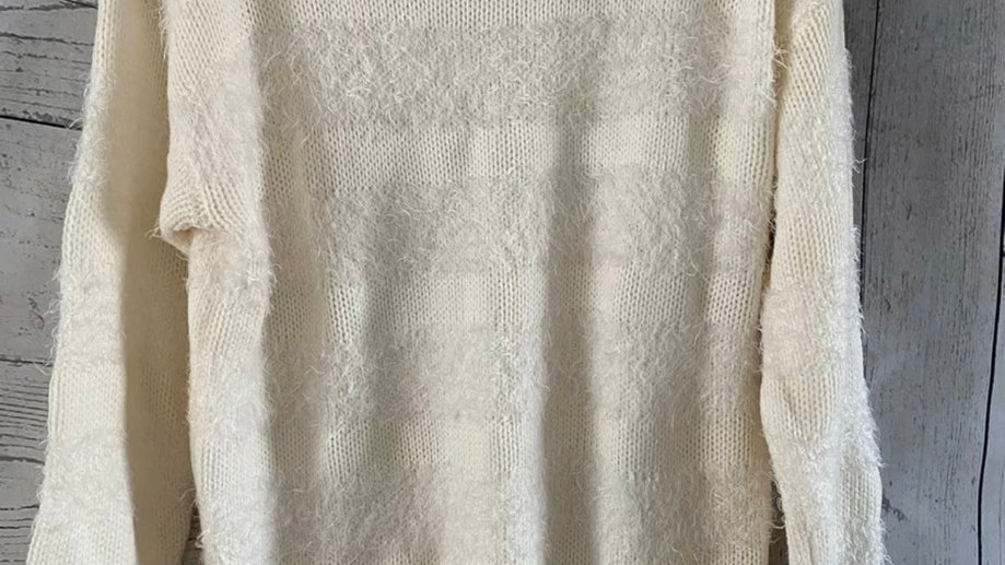 Womens / Ladies BHS Cream Knitted Fluffy Jumper Size 16 Excellent Condition