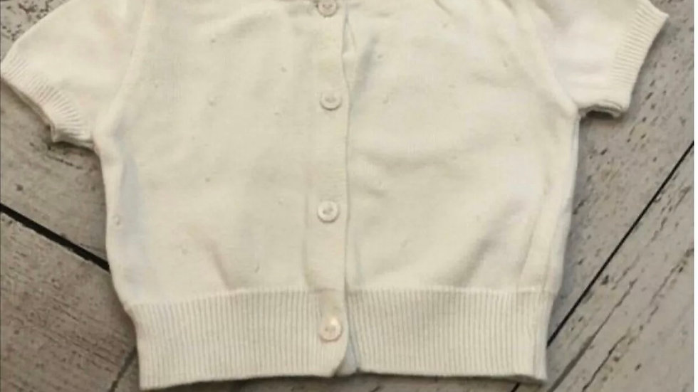 Baby Girls Marks & Spencer White Cardigan 3 Months - Very Good Condition