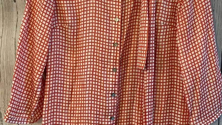 Womens / Ladies Tommy Hilfiger Red White Check Blouse Top Size 4 Uk 8-10