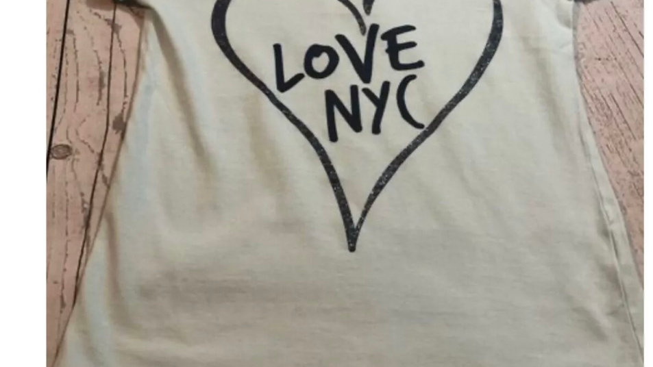Girls Matalan Mint Green T-shirt love NYC - Age 8 Very Good Condition