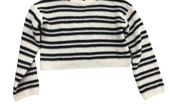 Girls New Look Stripe Knitted Cropped Jumper Age 10-11 Years Excellent Condition