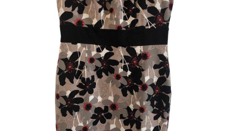 Womens / Ladies Per Una M&s Brown Floral Cotton Dress Size 14 Excellent