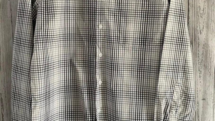 Mens Nicole Miller New York Black Grey Check Long Sleeve Shirt Size Large  New