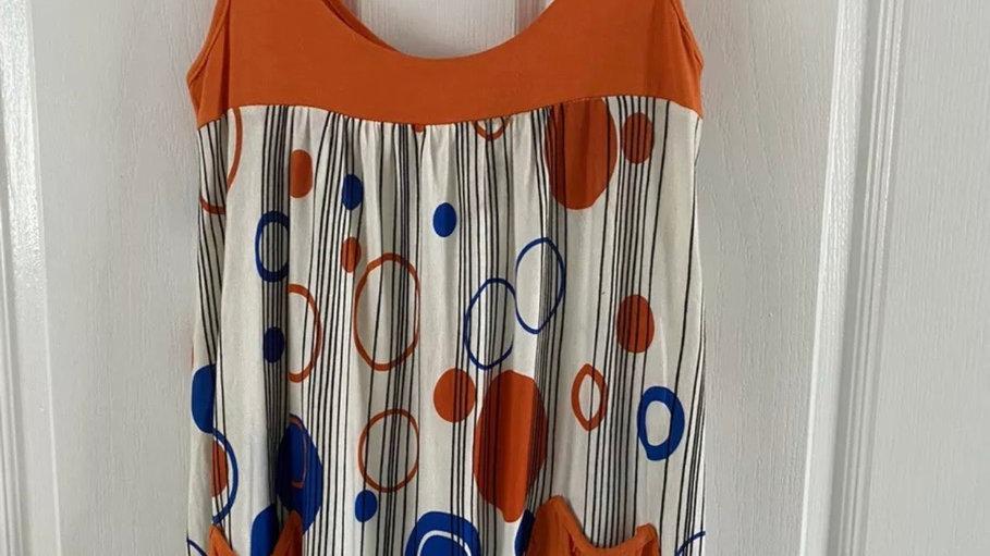 Womens / Ladies Orange White Circles Vest Top Size 8