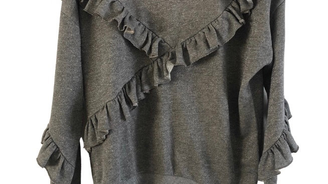 Womens / Ladies Topshop Silver Jumper Top Size 10 Excellent Condition