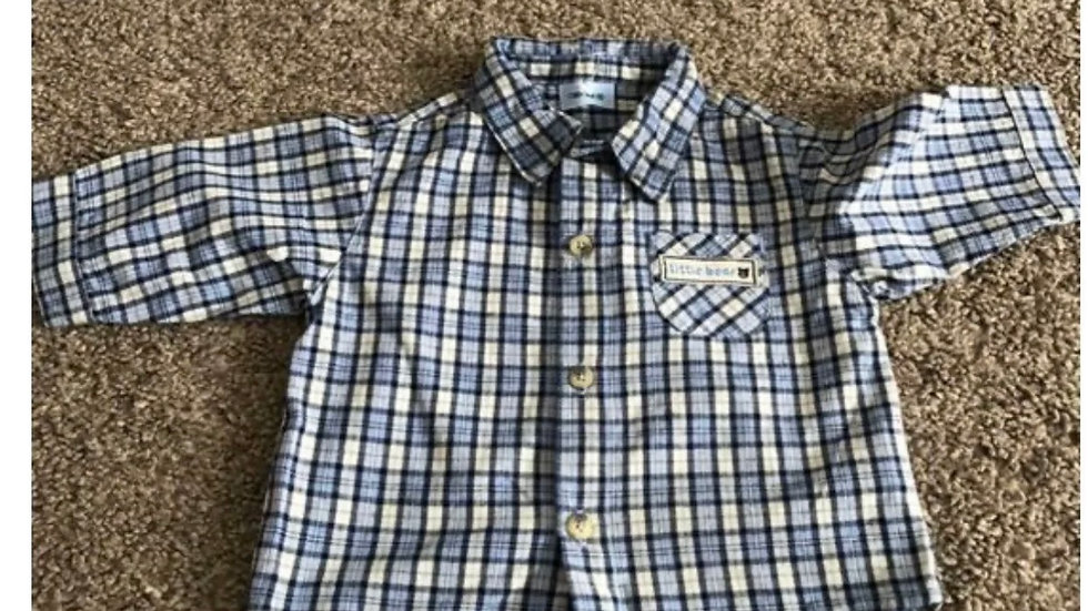 Boys Cherokee Blue Check Long Sleeve Shirt Age 3-6 Months Excellent Condition
