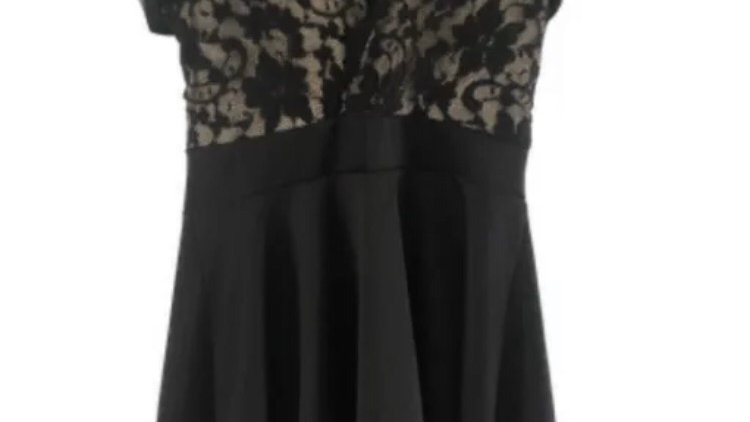Womens / Ladies Boohoo Black & Lace Dress Size 14 Immaculate Condition