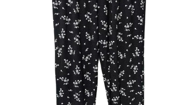 Womens Ladies Urban Posion Light Weight Flow Trousers Black Floral Size M/l NEW