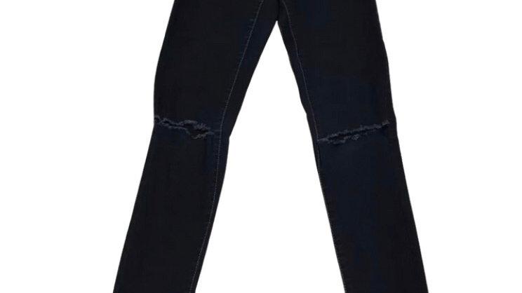 Womens / Ladies Denim & Co Dark Blue Denim Ripped Jeans Size 6 Good Condition