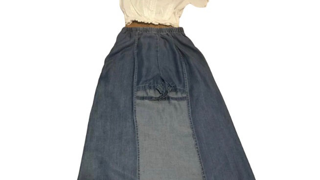 Girls River Island Denim Look Shorts With Back Skirt & Cropped White Age 7-8