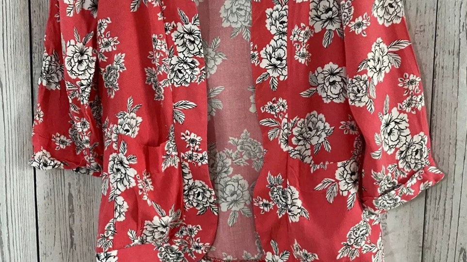 Womens / Ladies New Look Pink Kimono Cardigan Floral Size 8 Immaculate