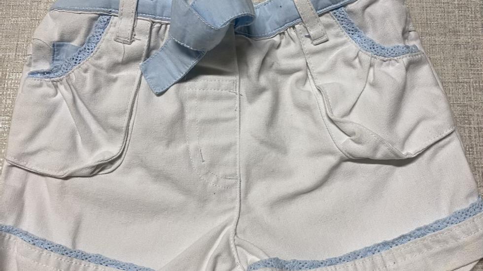 Girls Mini Mode White Denim Shorts Blue Trim Age 1-1.5 Years Immaculate