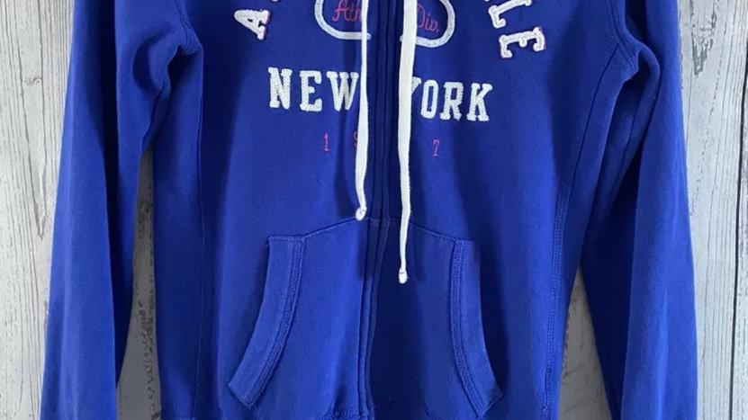 Womens / Ladies Aeropostable Blue Full Zip Hoodie Size Medium Uk 12-14