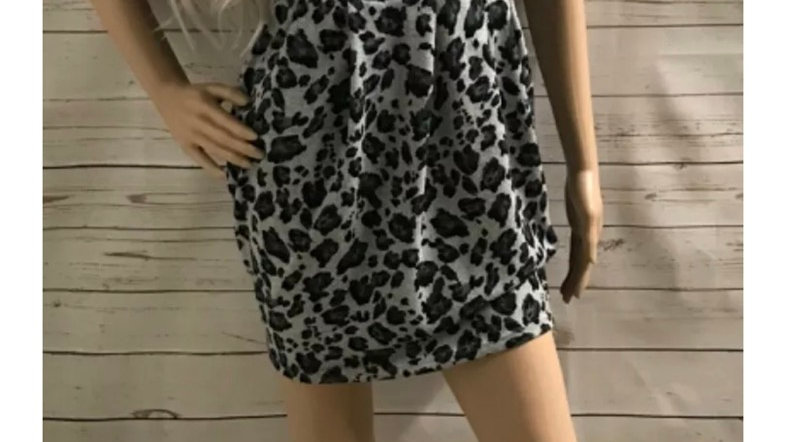 Womens / Lasies Lipsy Grey Leopard Print Dress Size 10 Missing Belt
