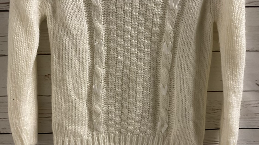 Girls M&Co Cream Knitted Jumper Age 7-8 Years Excellent Condition
