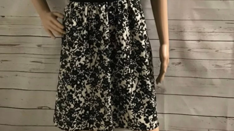 Womens / Ladies Oasis Black & Cream Floral Dress Size 16 Immaculate Condition