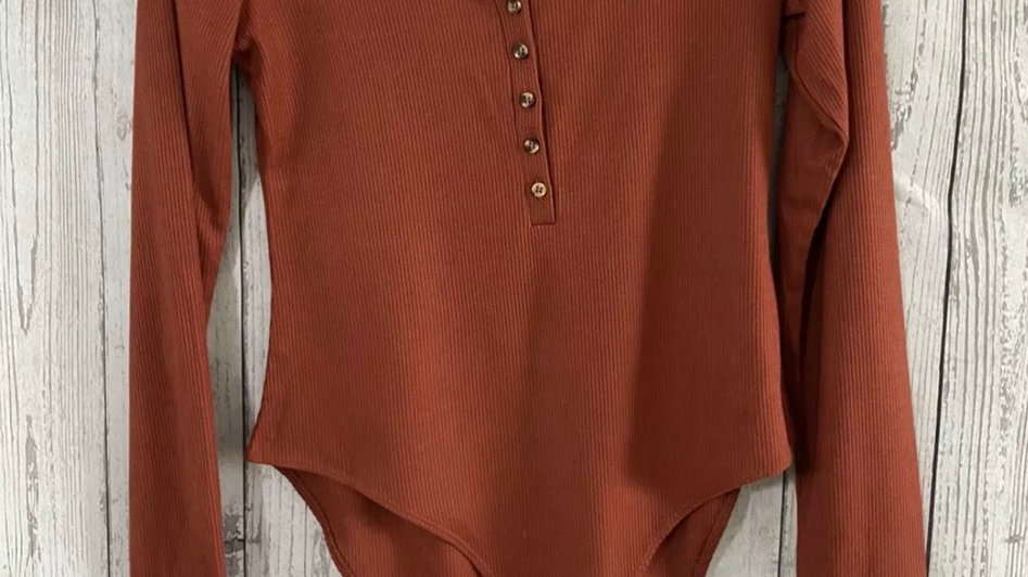 Womens / Ladies Primark Rubbed Rustic Orange Bodysuit Size Small Immacualte