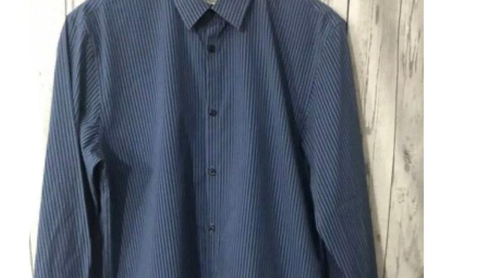Men's Calvin Klein Blue Stripped Long Sleeve Shirt Size Medium - Immaculate