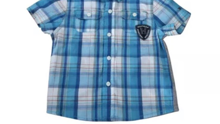 Baby Boys Tommy Hilfiger Blue Check Short Sleeve Shirt Age 12 Months Immaculate