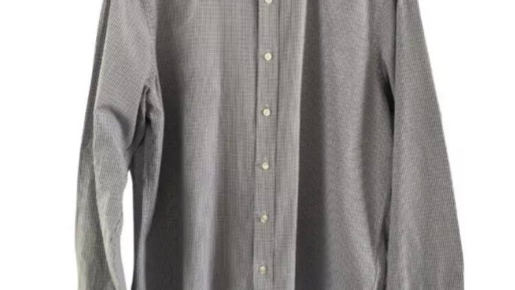 Mens DKNY blue Check Long Sleeve Shirt Size Large Immaculate Condition