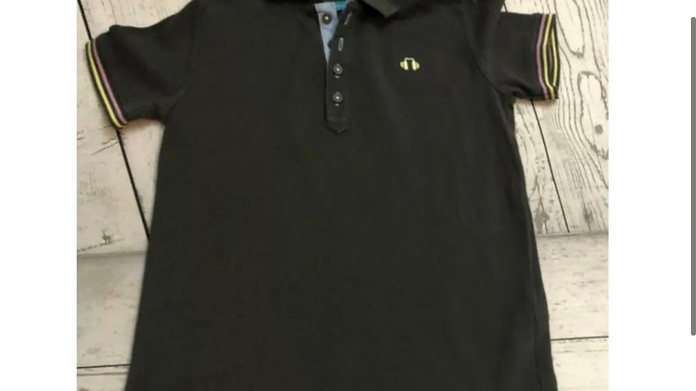 Boys Marks & Spencers Black Polo T-Shirt Age 5-6 Years Immaculate