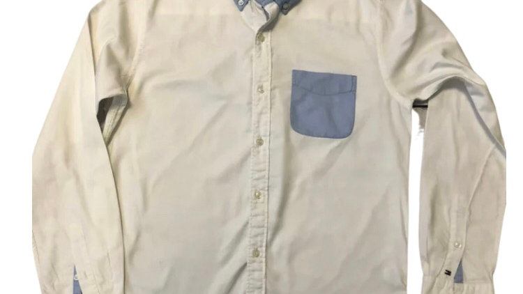 Mens Tommy Hilfiger Vintage Fit White Long Sleeve Shirt Size Small - Immaculate