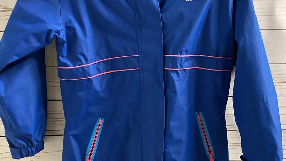 Girls Trespass 2 In 1 Waterproof Blue Pink Coat With Zip In Fleece 7-8 Years