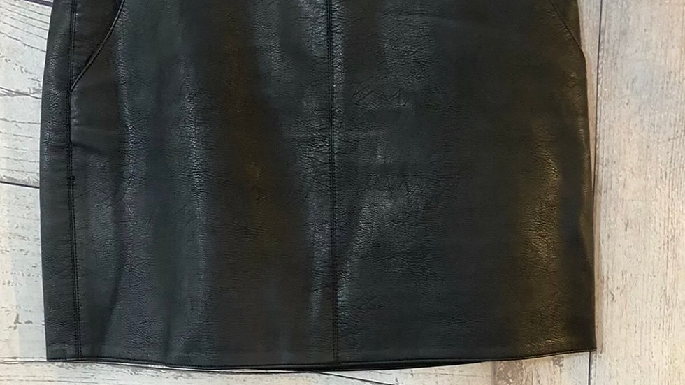 Womens / Ladies Dorothy Perkins Black Pvc Leather Skirt Size 12 Immaculate