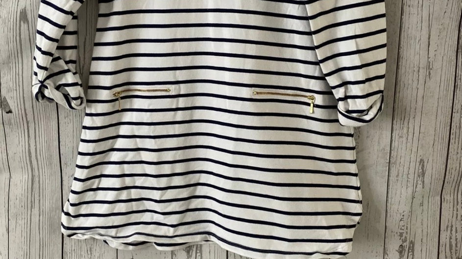 Girls TU White & Navy Stripe Long Sleeve Dress Age 12 Years Immaculate Condition