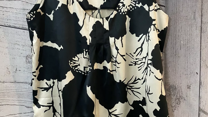 Womens / Ladies Wallis Black Beige Satin Vest Blouse Top Size 10 Immaculate