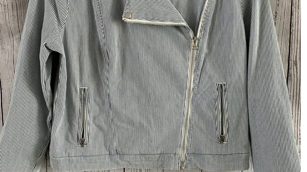 Womens / Ladies Marks & Spencer Blue White Stripe Biker Cotton Jacket Size 12